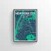 New York City Map Art Print - Point Two Design