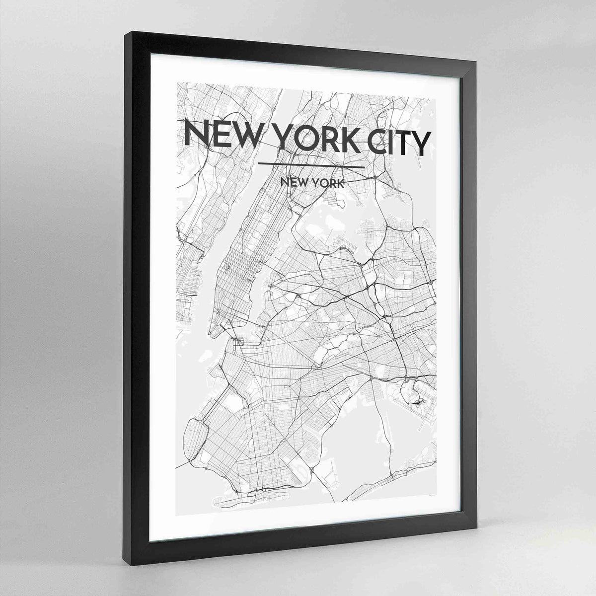 New York Map Art Print - Framed