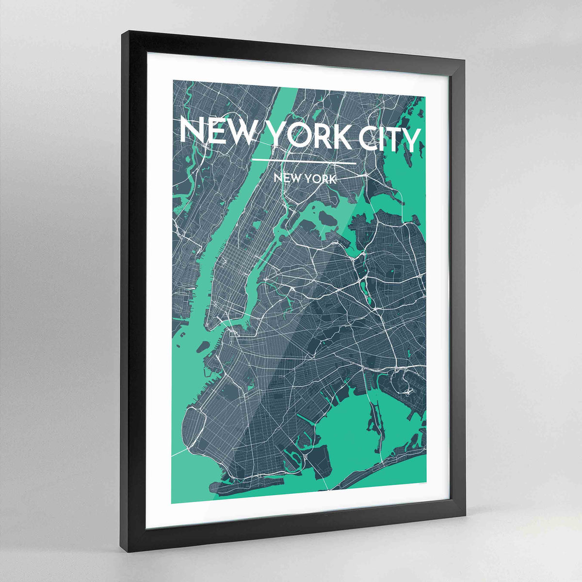 Framed New York City Map Art Print - Point Two Design