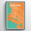 Oakland City Map Art Print - Point Two Design