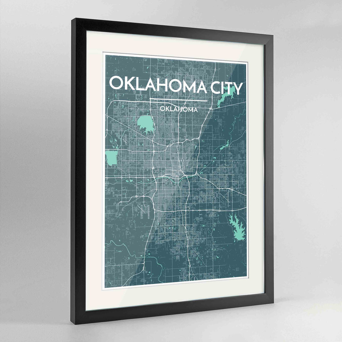 "Framed Oklahoma Map Art Print 24x36"" Contemporary Black frame Point Two Design Group"
