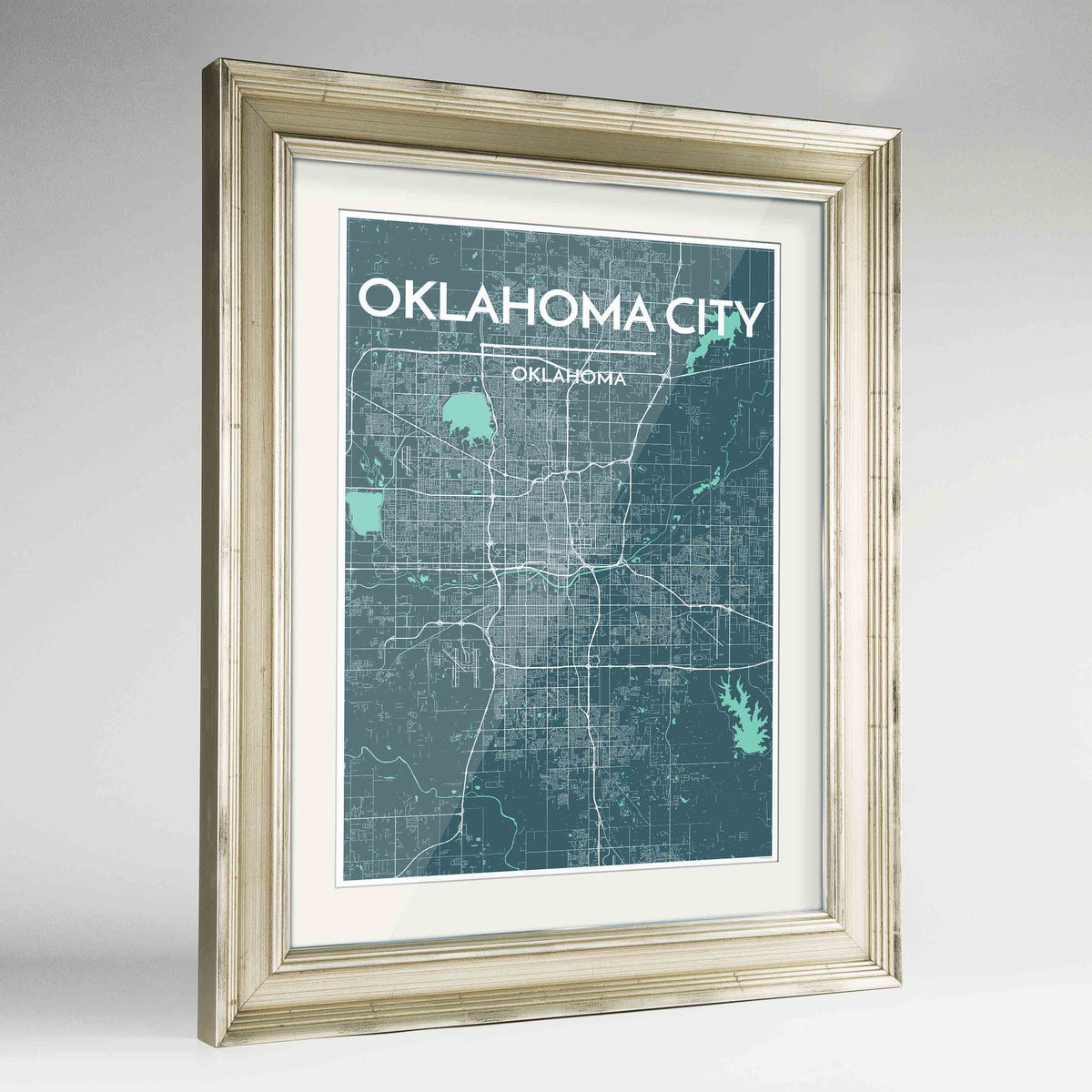 "Framed Oklahoma Map Art Print 24x36"" Champagne frame Point Two Design Group"