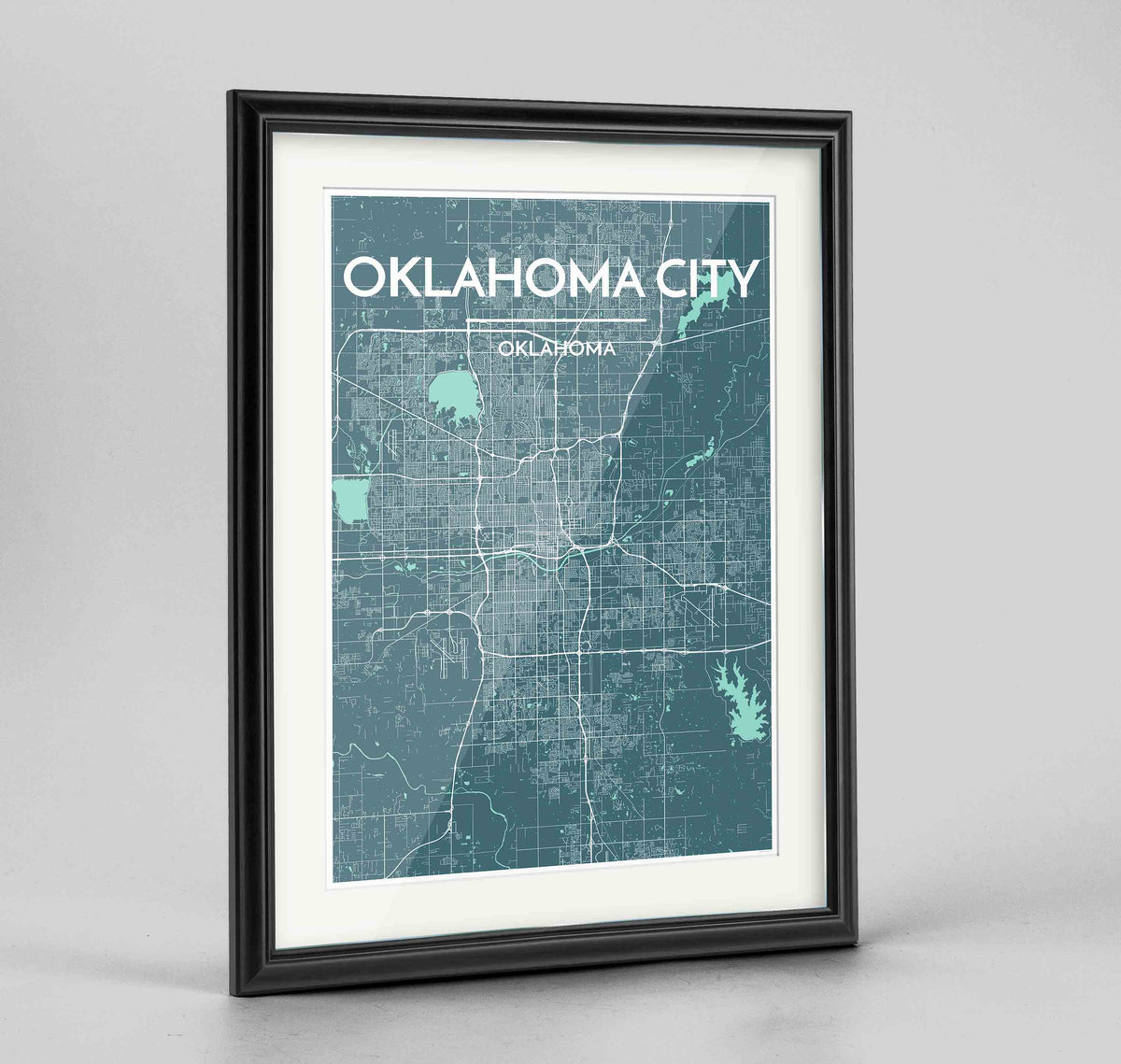 "Framed Oklahoma Map Art Print 24x36"" Traditional Black frame Point Two Design Group"