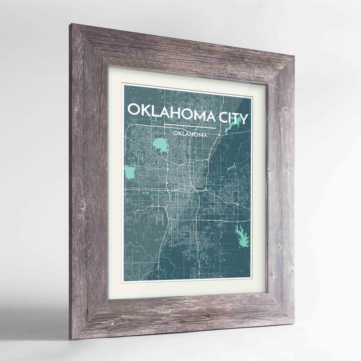 "Framed Oklahoma Map Art Print 24x36"" Western Grey frame Point Two Design Group"