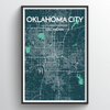 Oklahoma City Map Art Print - Point Two Design