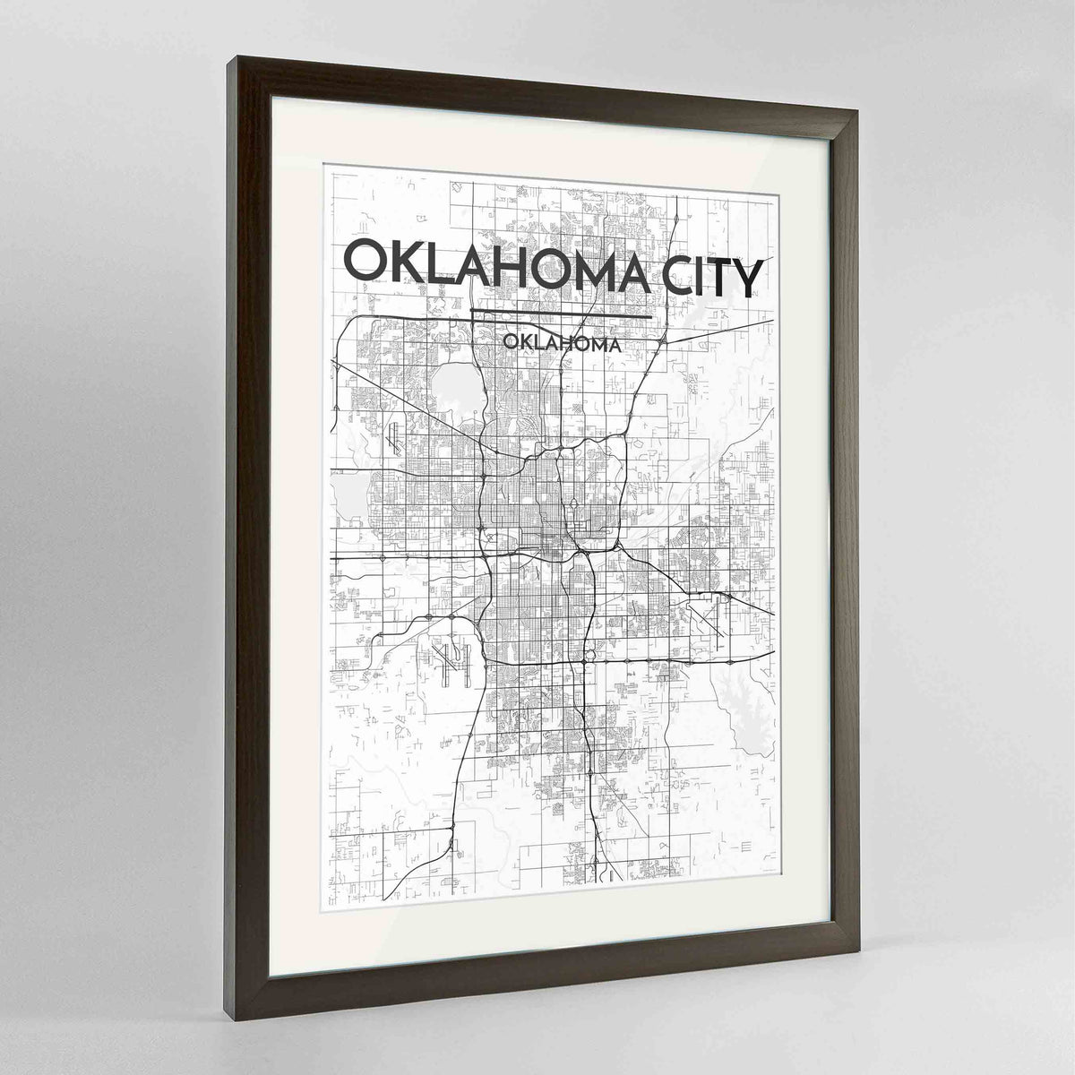 "Framed Oklahoma Map Art Print 24x36"" Contemporary Walnut frame Point Two Design Group"
