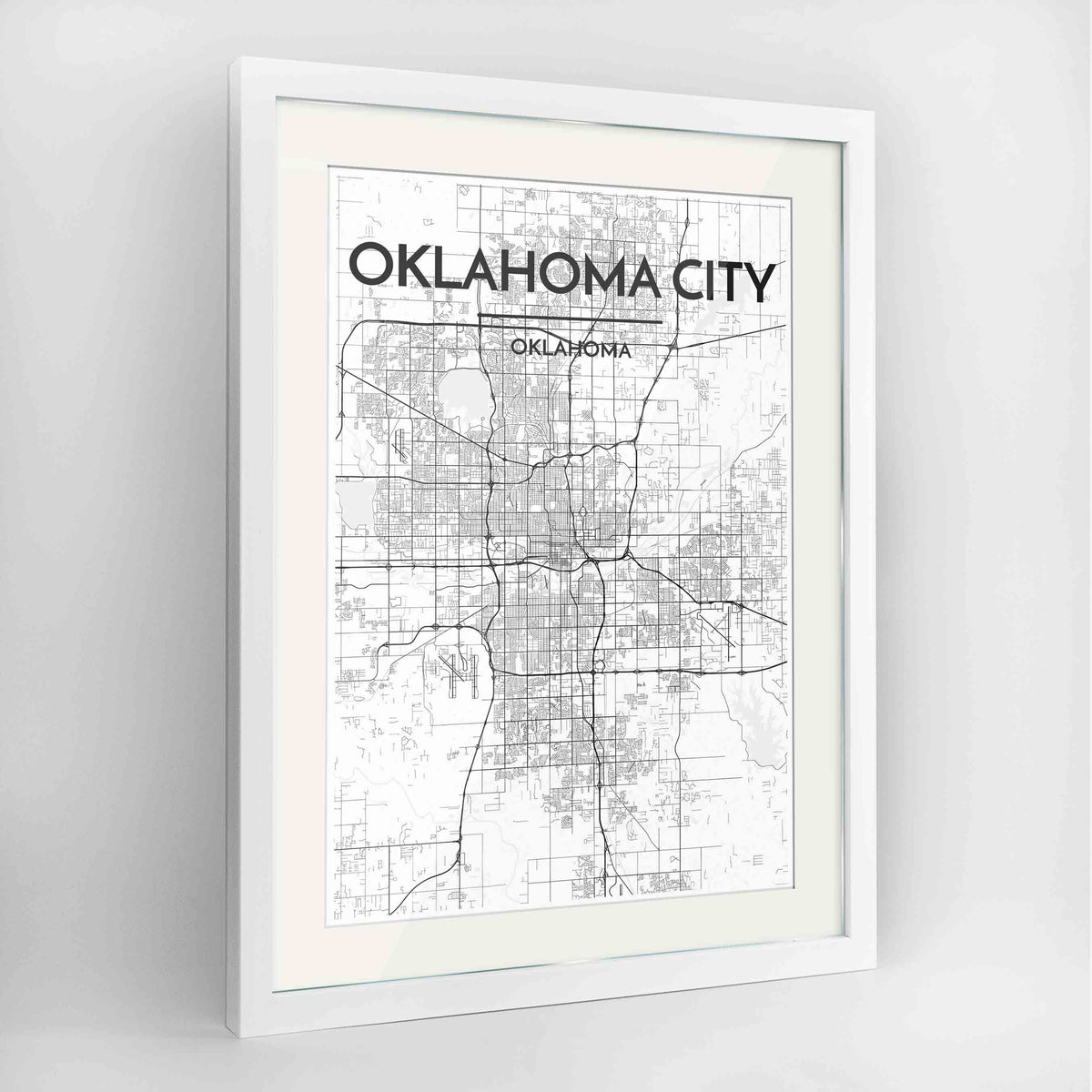 "Framed Oklahoma Map Art Print 24x36"" Contemporary White frame Point Two Design Group"