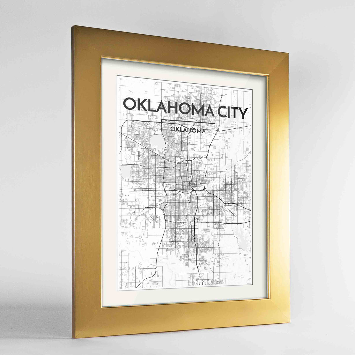 "Framed Oklahoma Map Art Print 24x36"" Gold frame Point Two Design Group"