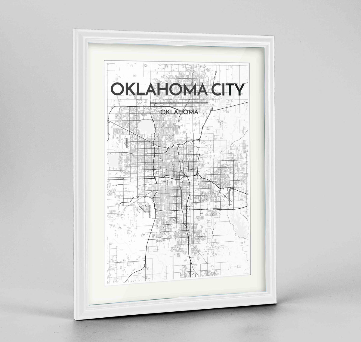 "Framed Oklahoma Map Art Print 24x36"" Traditional White frame Point Two Design Group"