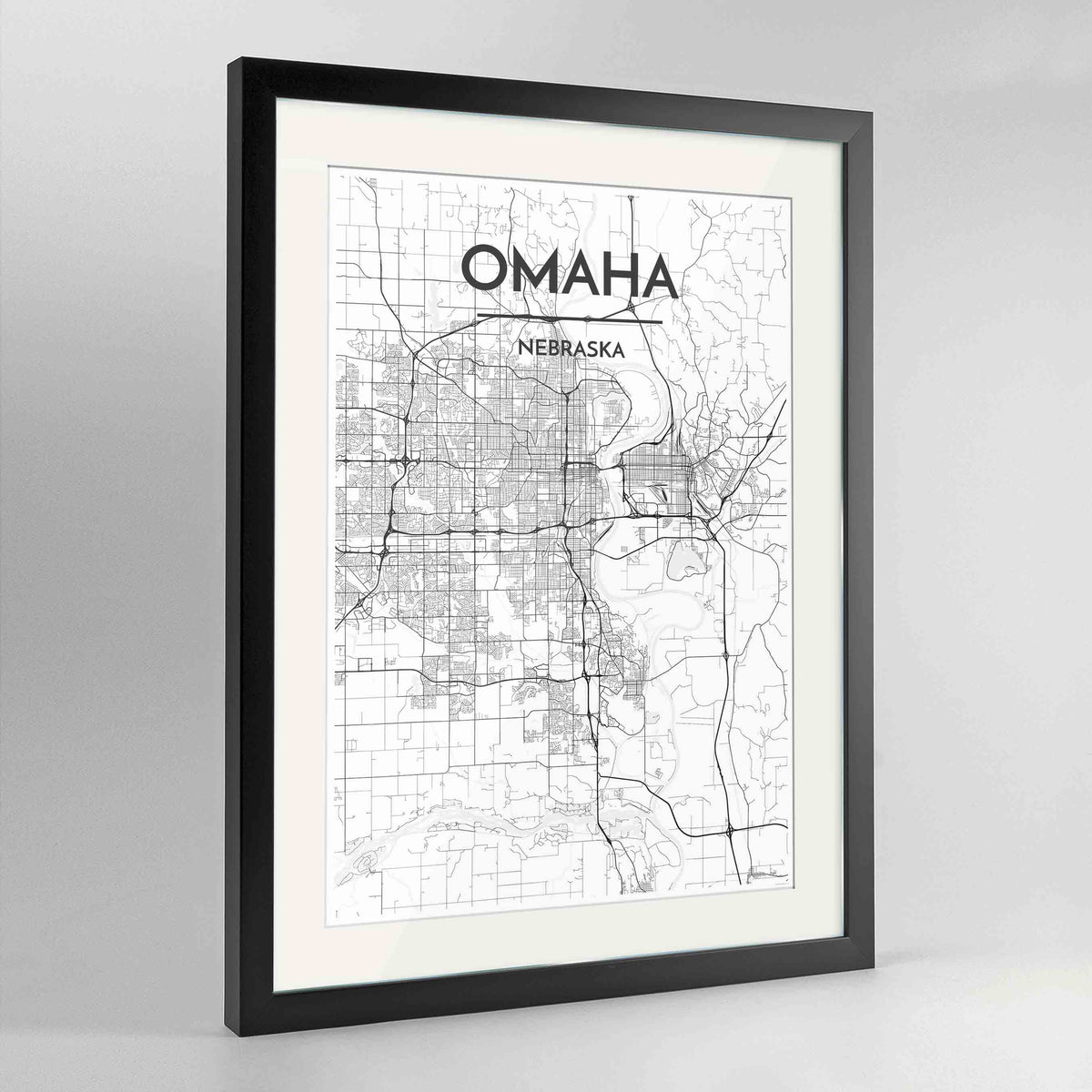 "Framed Omaha Map Art Print 24x36"" Contemporary Black frame Point Two Design Group"
