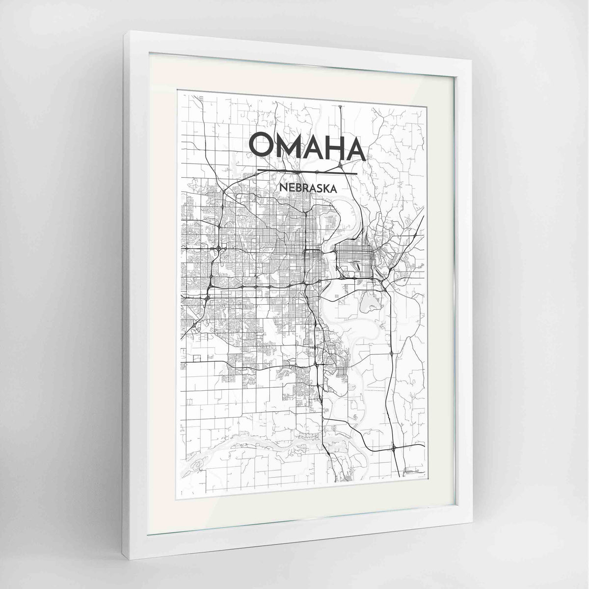 "Framed Omaha Map Art Print 24x36"" Contemporary White frame Point Two Design Group"