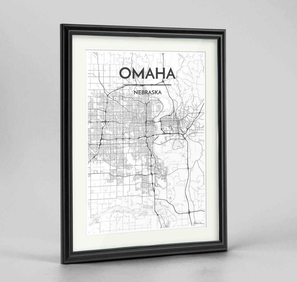 "Framed Omaha Map Art Print 24x36"" Traditional Black frame Point Two Design Group"