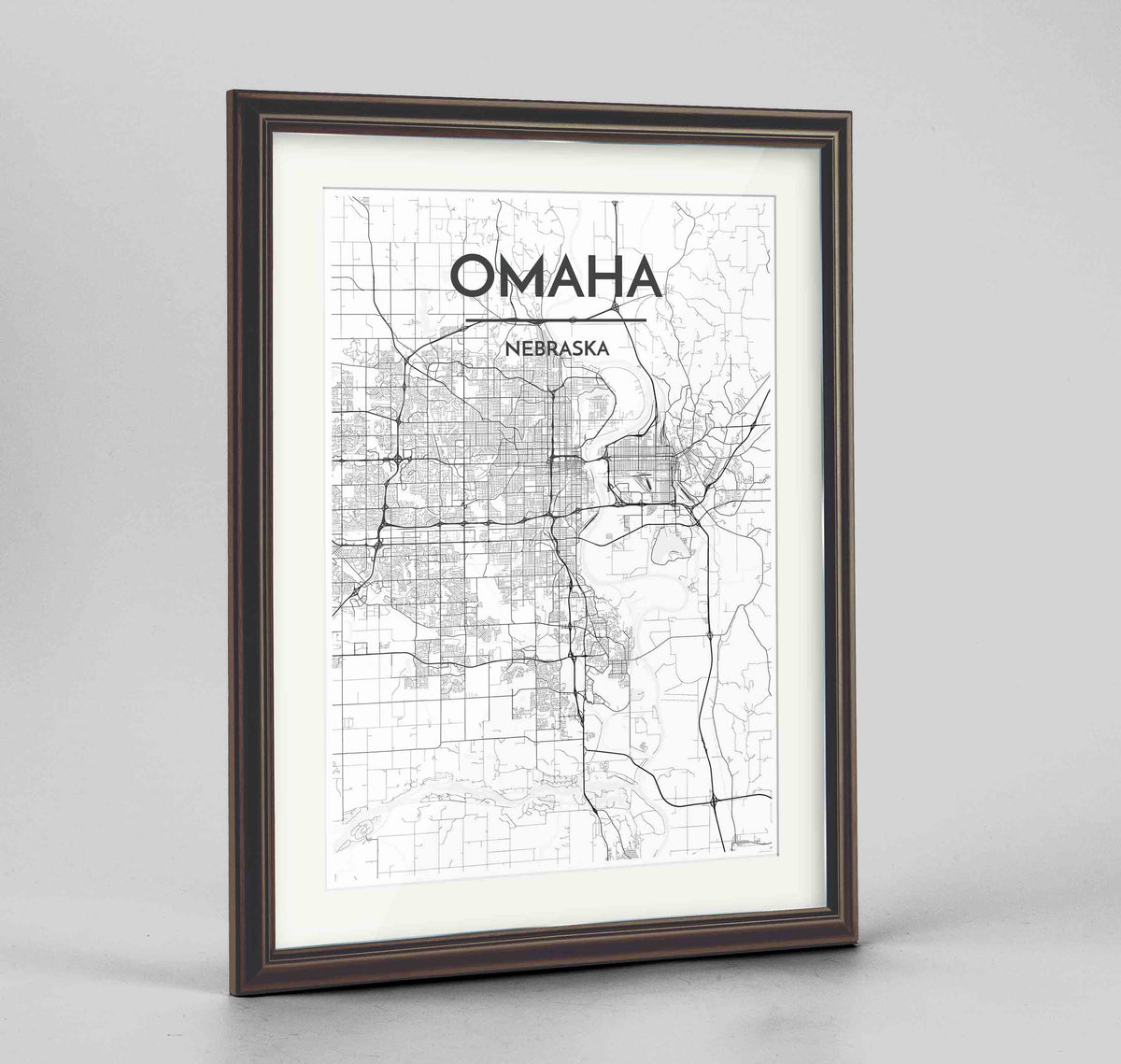 "Framed Omaha Map Art Print 24x36"" Traditional Walnut frame Point Two Design Group"