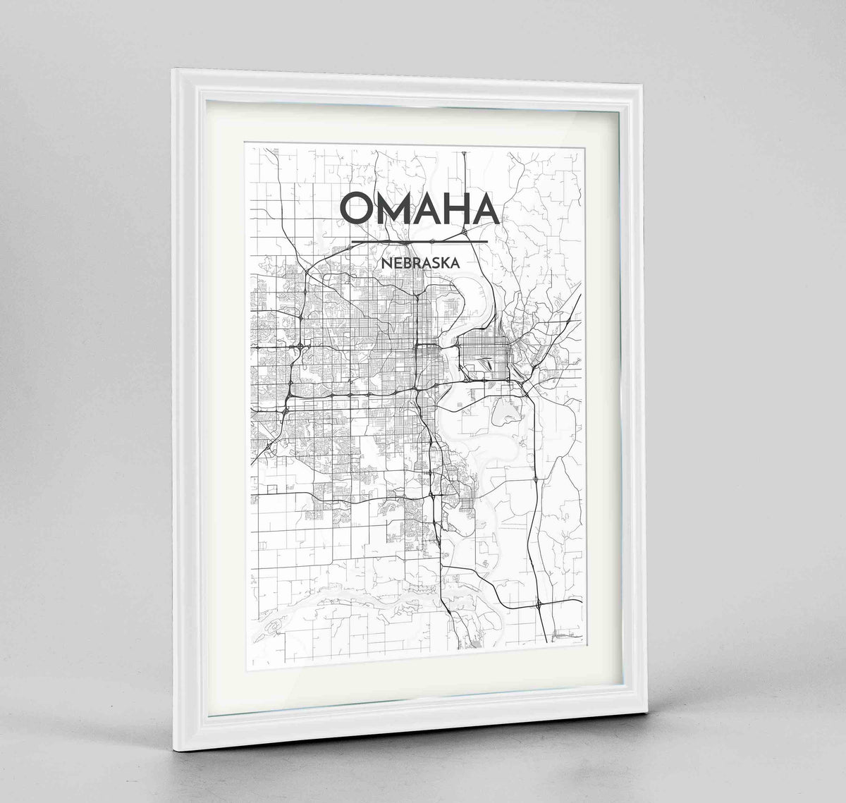 "Framed Omaha Map Art Print 24x36"" Traditional White frame Point Two Design Group"
