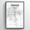 Omaha City Map Art Print - Point Two Design