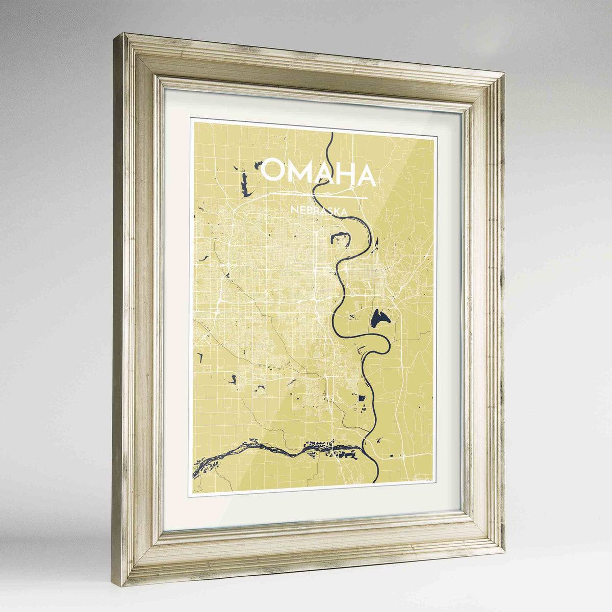 "Framed Omaha Map Art Print 24x36"" Champagne frame Point Two Design Group"