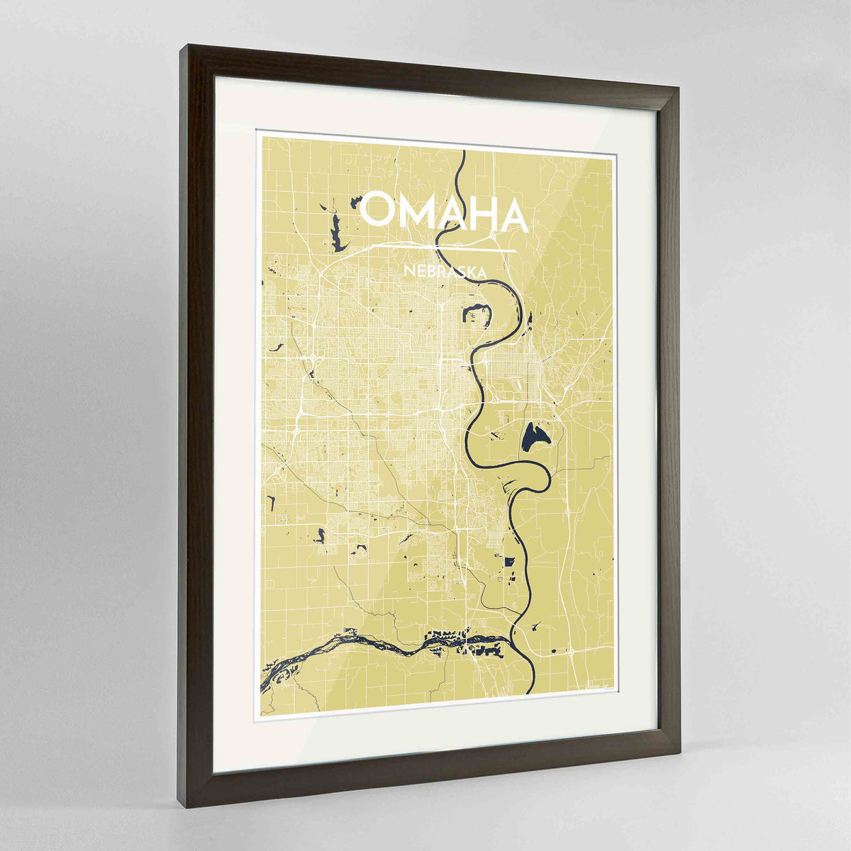 "Framed Omaha Map Art Print 24x36"" Contemporary Walnut frame Point Two Design Group"
