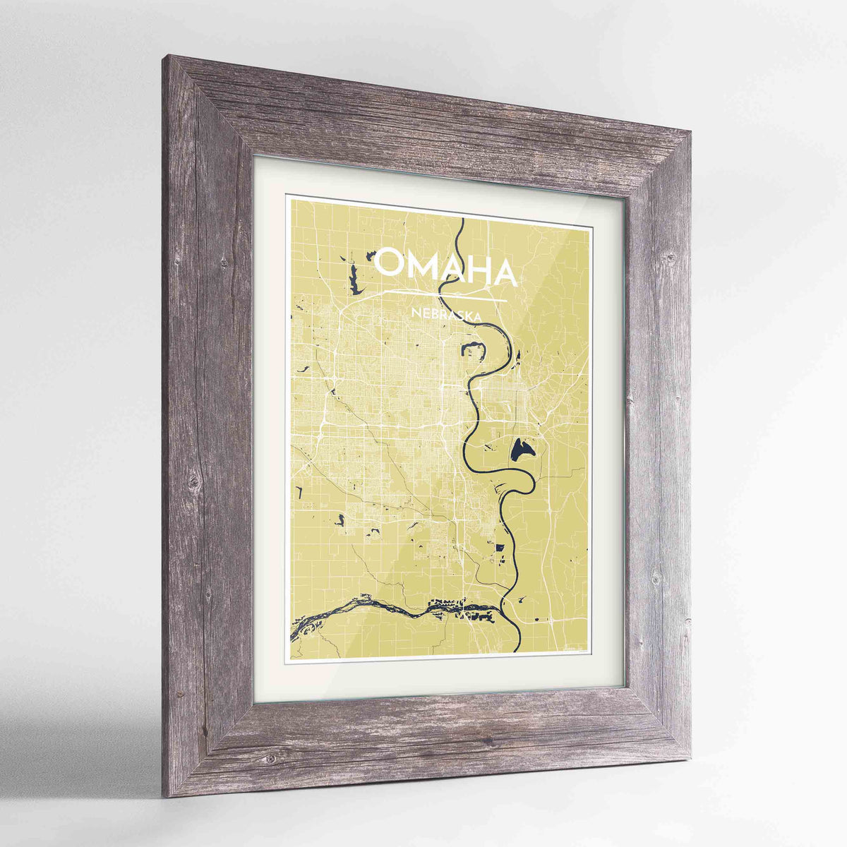 "Framed Omaha Map Art Print 24x36"" Western Grey frame Point Two Design Group"