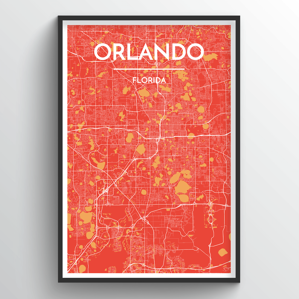Orlando City Map Art Print - Point Two Design