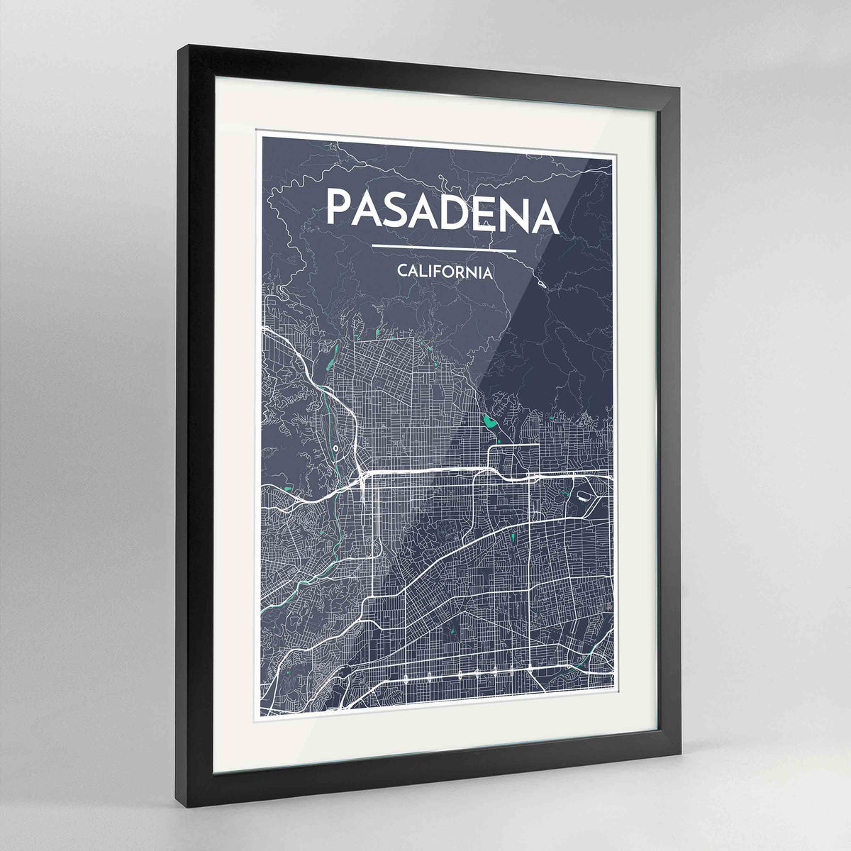 "Framed Pasadena Map Art Print 24x36"" Contemporary Black frame Point Two Design Group"