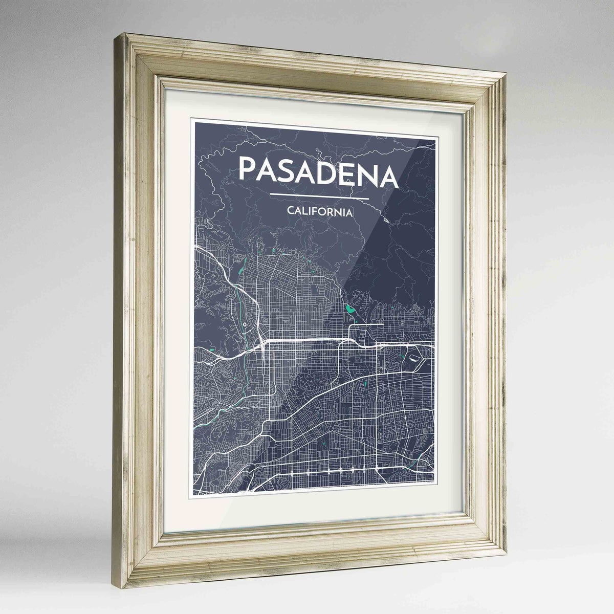 "Framed Pasadena Map Art Print 24x36"" Champagne frame Point Two Design Group"