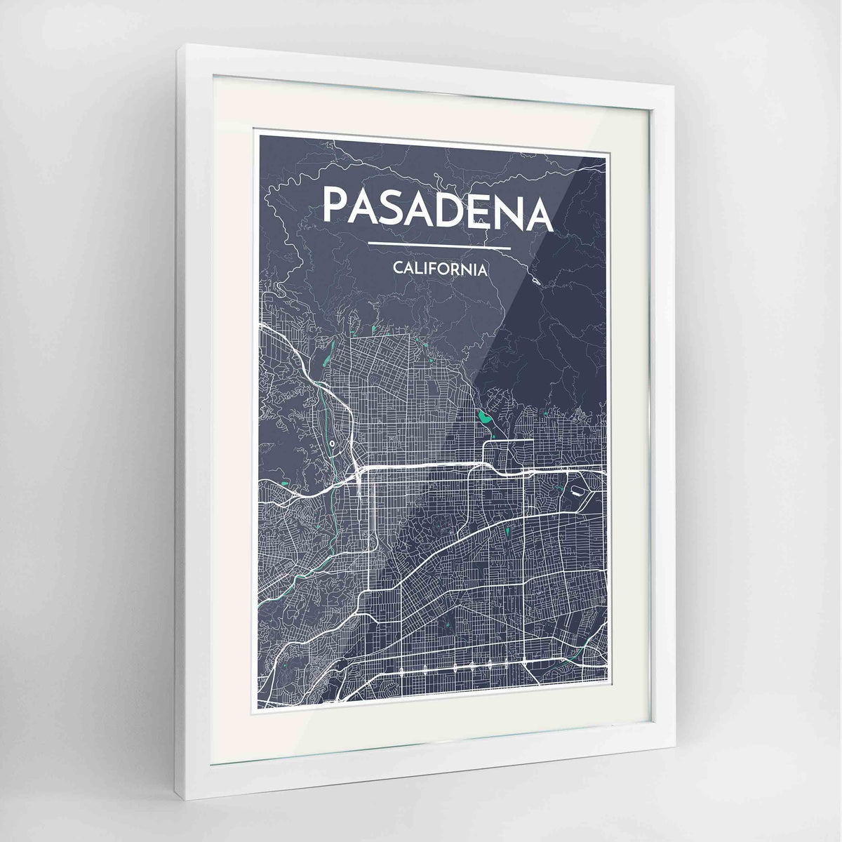 "Framed Pasadena Map Art Print 24x36"" Contemporary White frame Point Two Design Group"