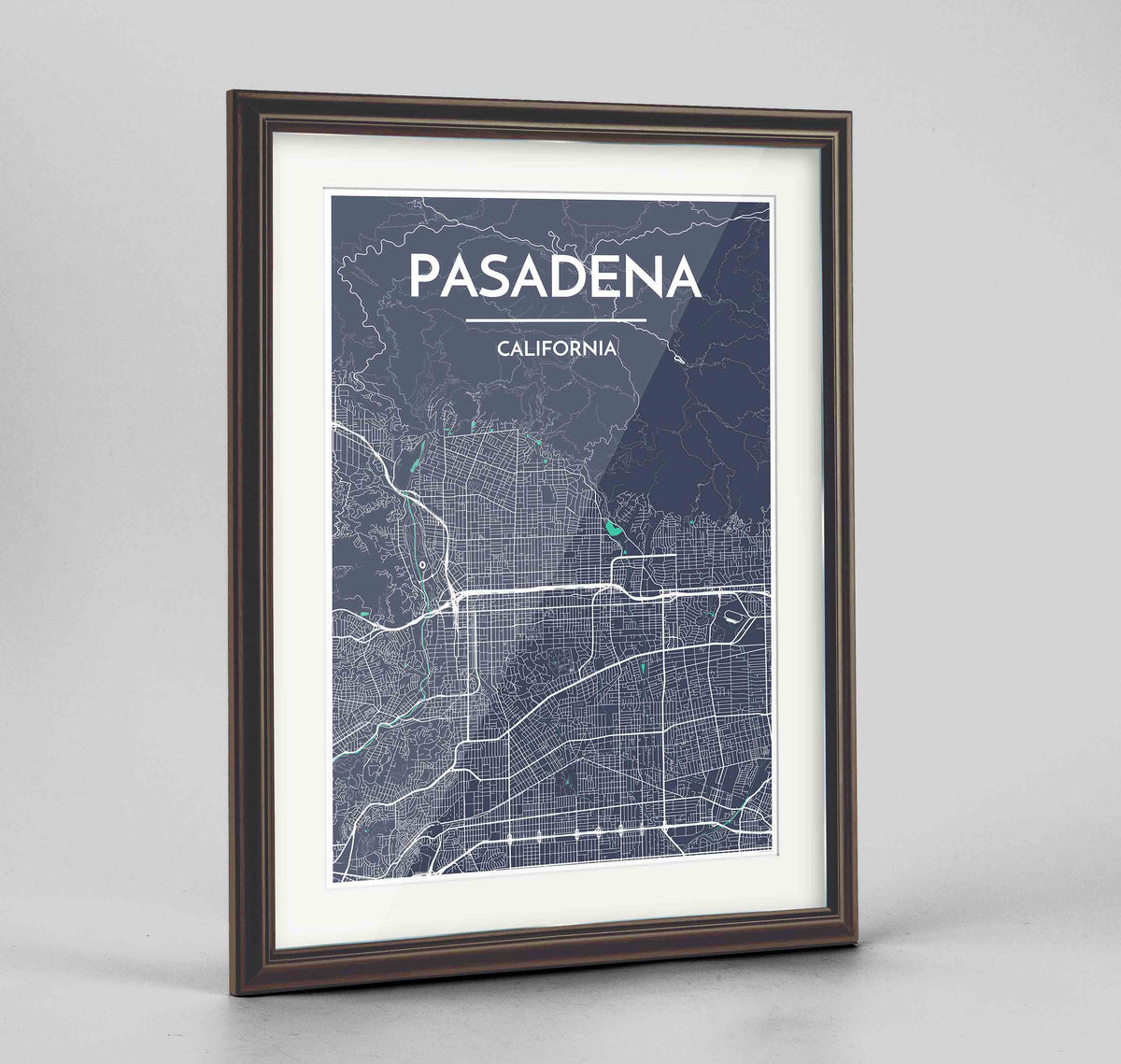 "Framed Pasadena Map Art Print 24x36"" Traditional Walnut frame Point Two Design Group"