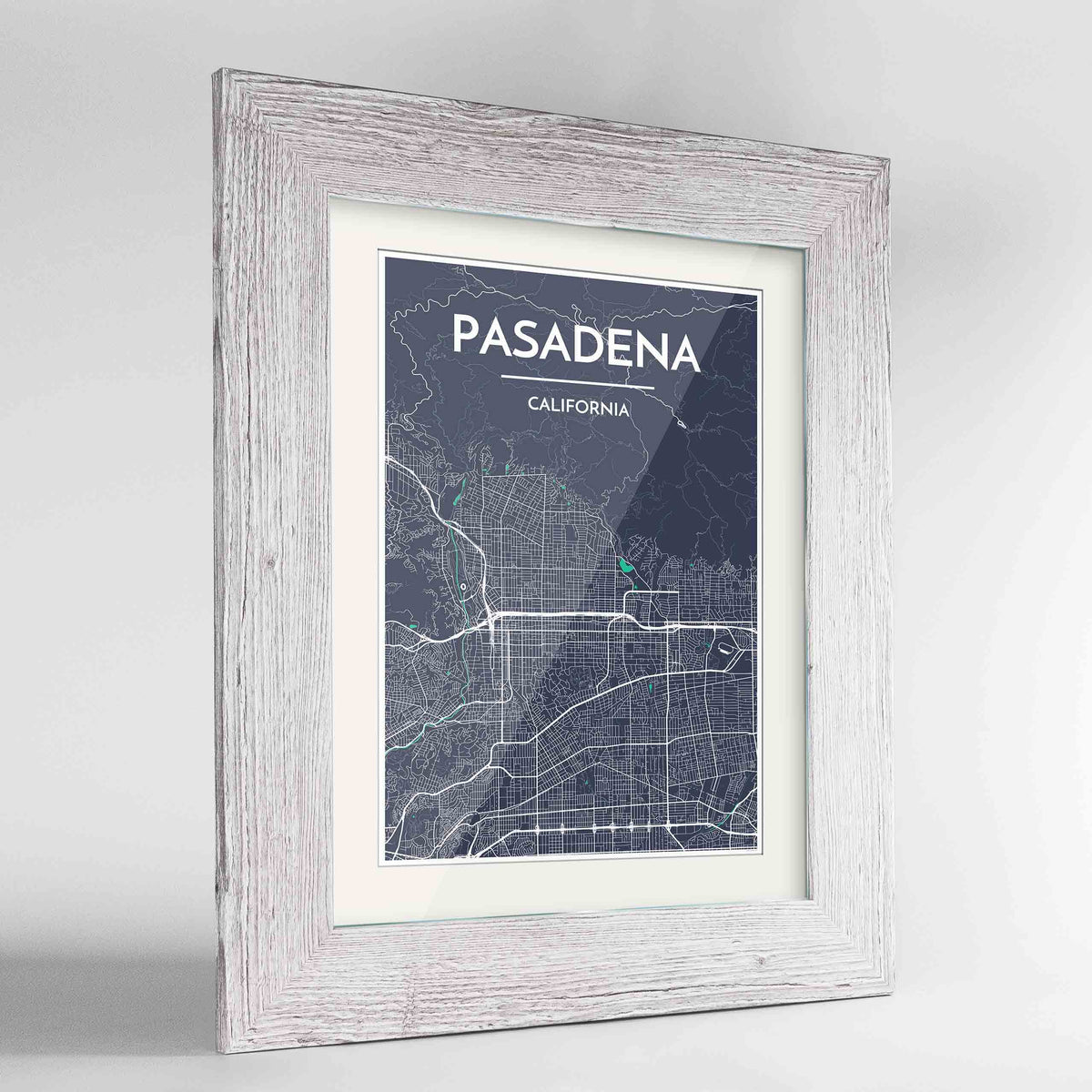 "Framed Pasadena Map Art Print 24x36"" Western White frame Point Two Design Group"