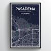 Pasadena City Map Art Print - Point Two Design