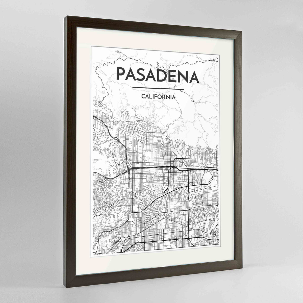 "Framed Pasadena Map Art Print 24x36"" Contemporary Walnut frame Point Two Design Group"