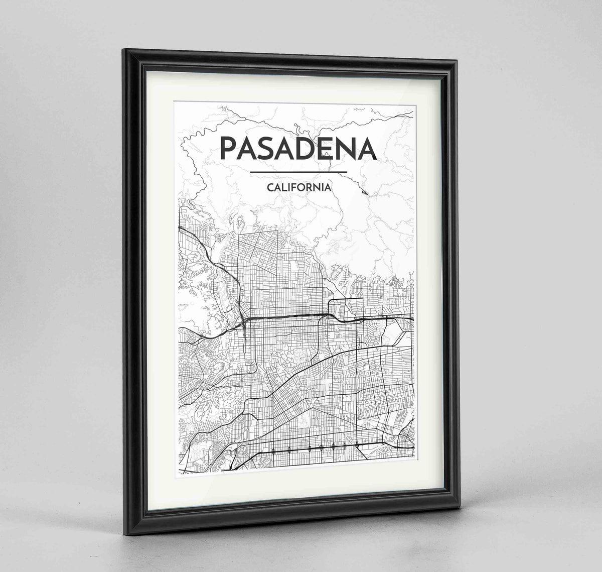 "Framed Pasadena Map Art Print 24x36"" Traditional Black frame Point Two Design Group"