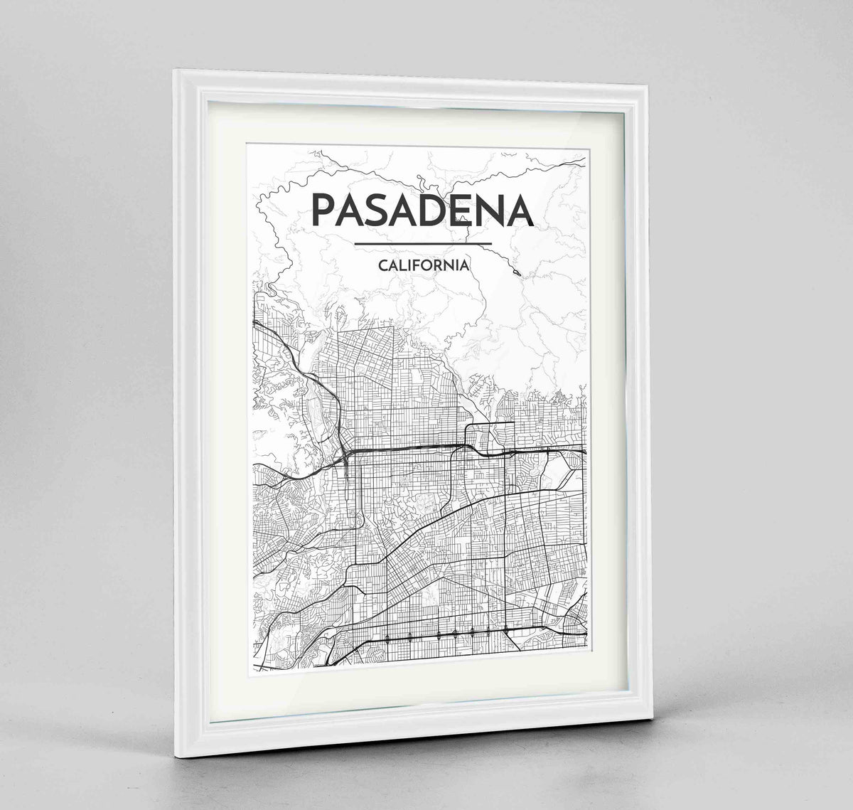 "Framed Pasadena Map Art Print 24x36"" Traditional White frame Point Two Design Group"