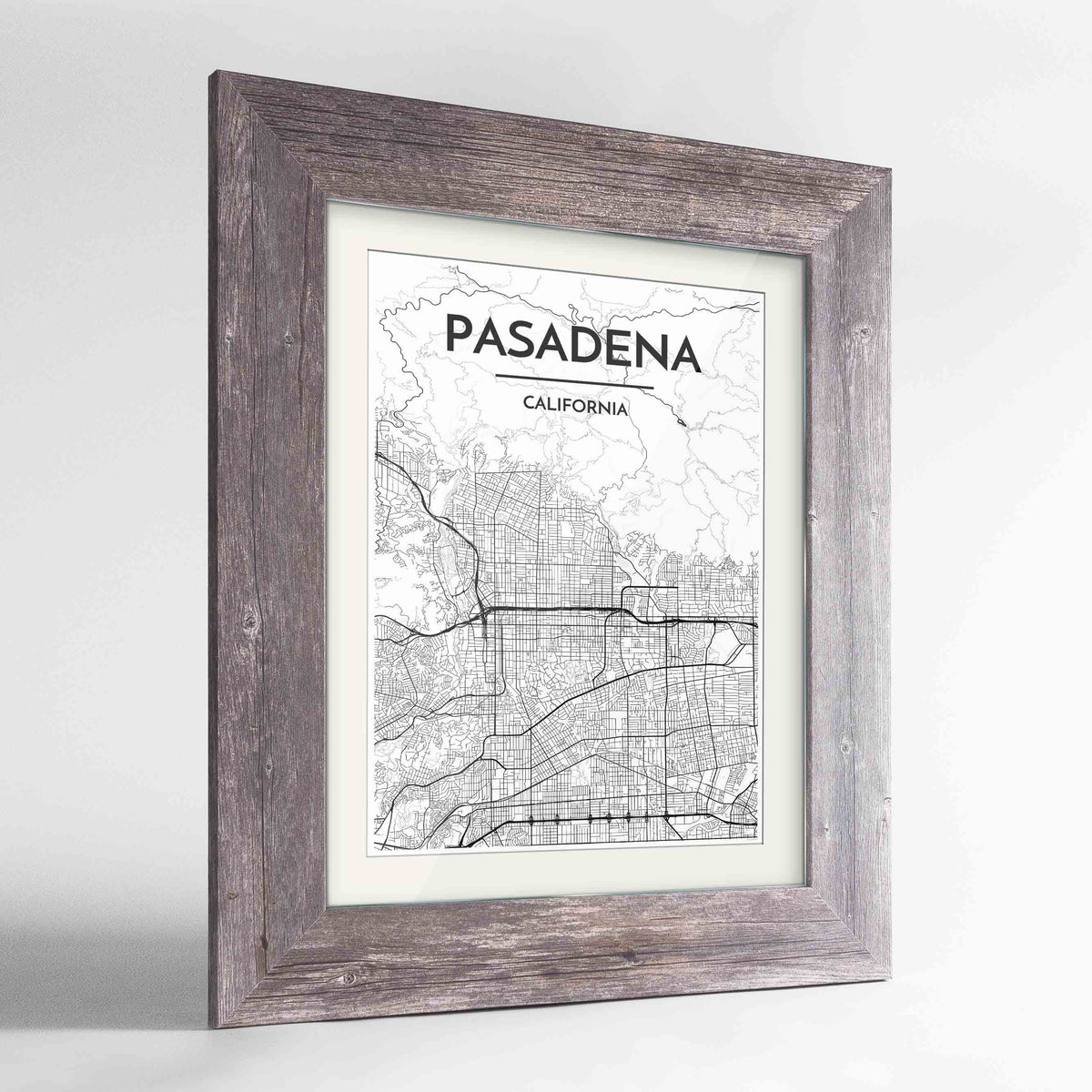 "Framed Pasadena Map Art Print 24x36"" Western Grey frame Point Two Design Group"