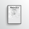 Pensacola City Map Art Print - Point Two Design
