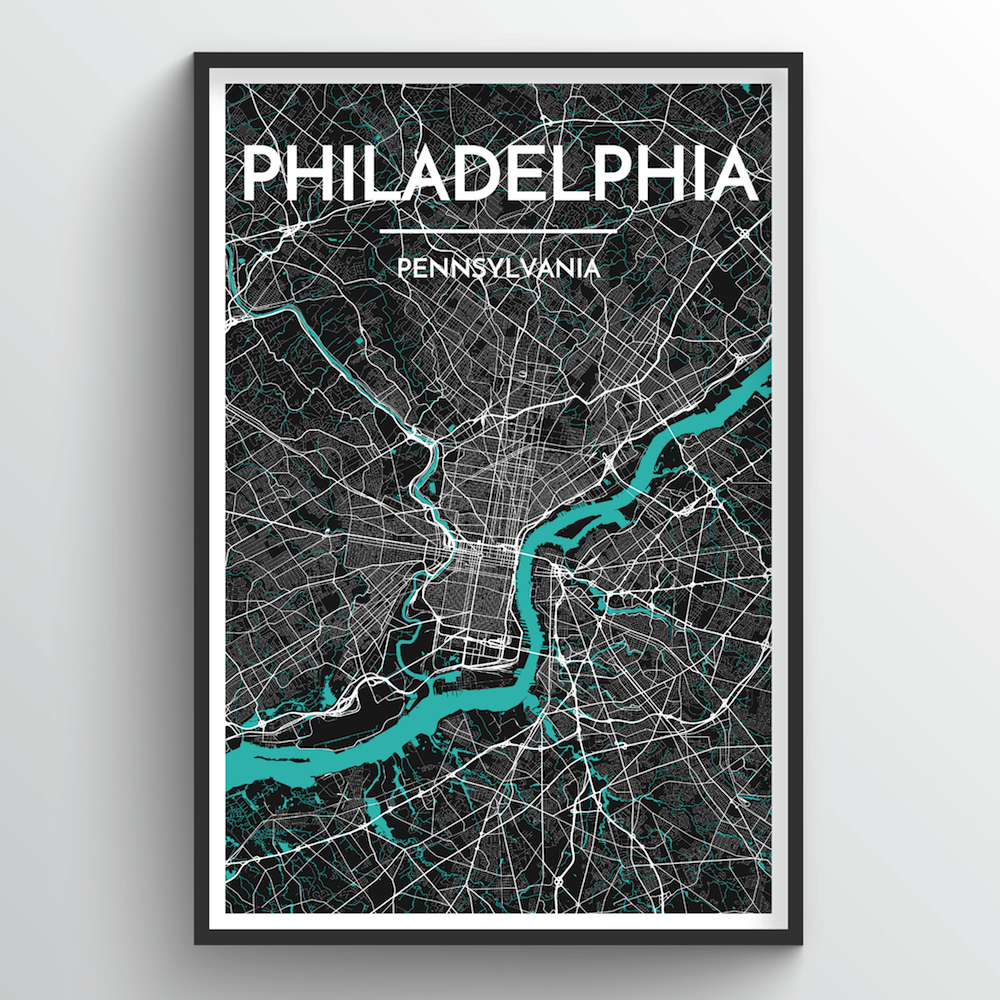 Philadelphia City Map Art Print - Point Two Design