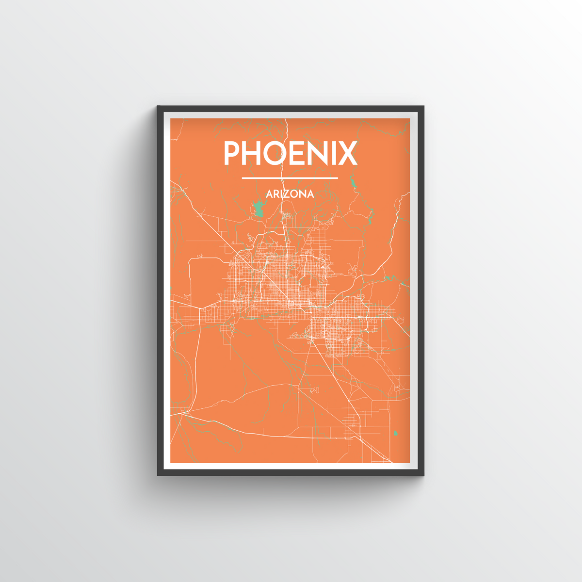 Phoenix Map Art Print - Point Two Design