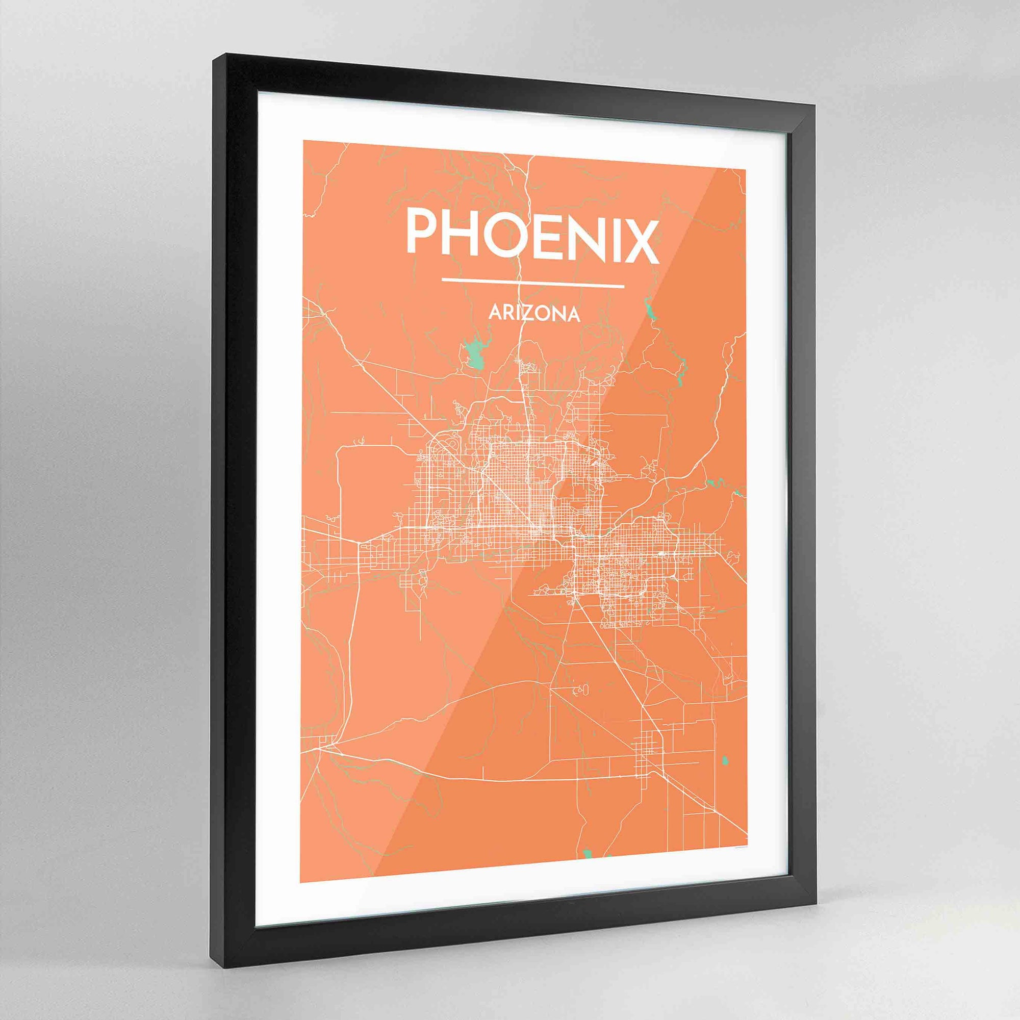 Framed Phoenix City Map Art Print - Point Two Design