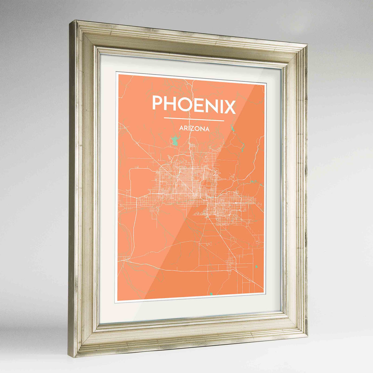 "Framed Phoenix Map Art Print 24x36"" Champagne frame Point Two Design Group"