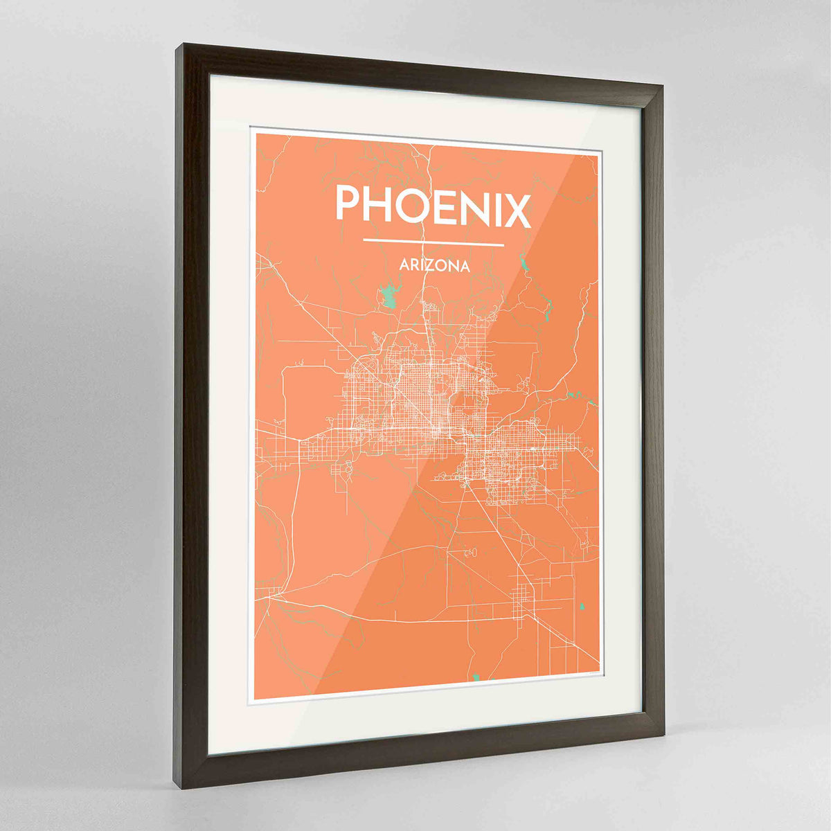 "Framed Phoenix Map Art Print 24x36"" Contemporary Walnut frame Point Two Design Group"