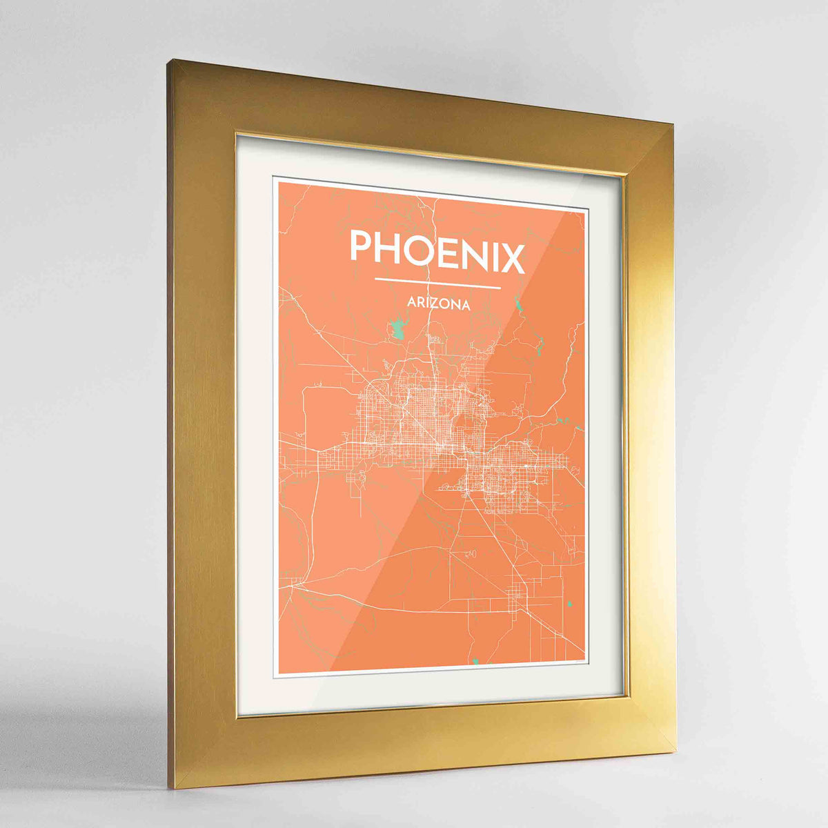 "Framed Phoenix Map Art Print 24x36"" Gold frame Point Two Design Group"