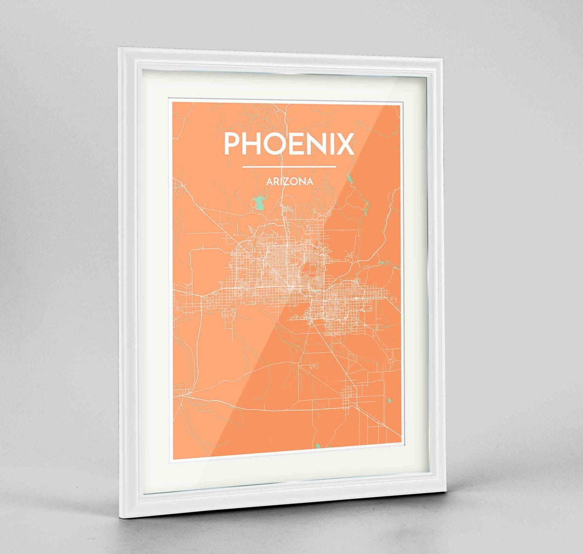 "Framed Phoenix Map Art Print 24x36"" Traditional White frame Point Two Design Group"