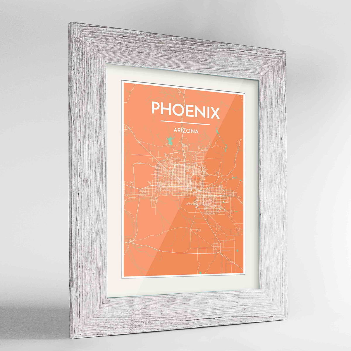 "Framed Phoenix Map Art Print 24x36"" Western White frame Point Two Design Group"