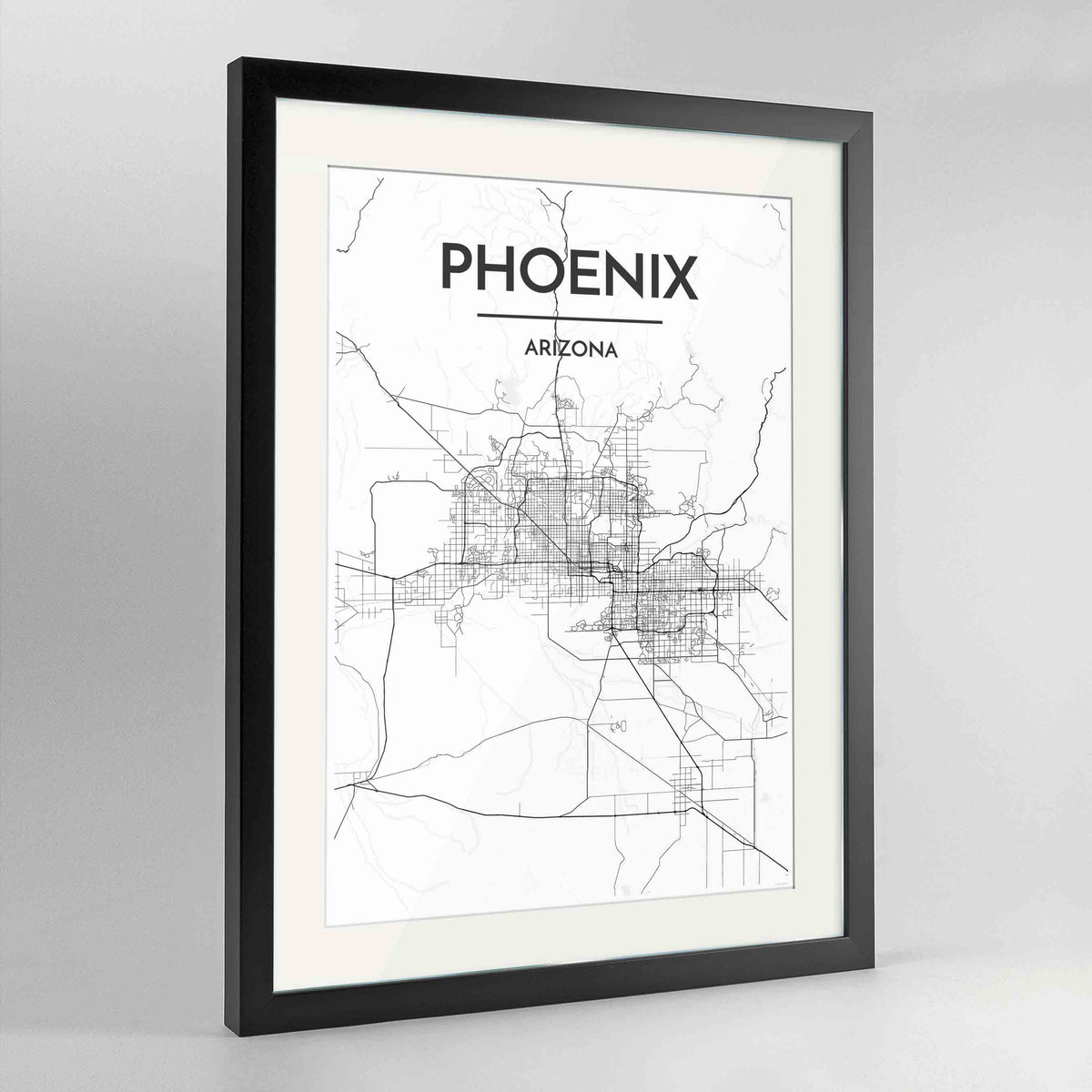 "Framed Phoenix Map Art Print 24x36"" Contemporary Black frame Point Two Design Group"