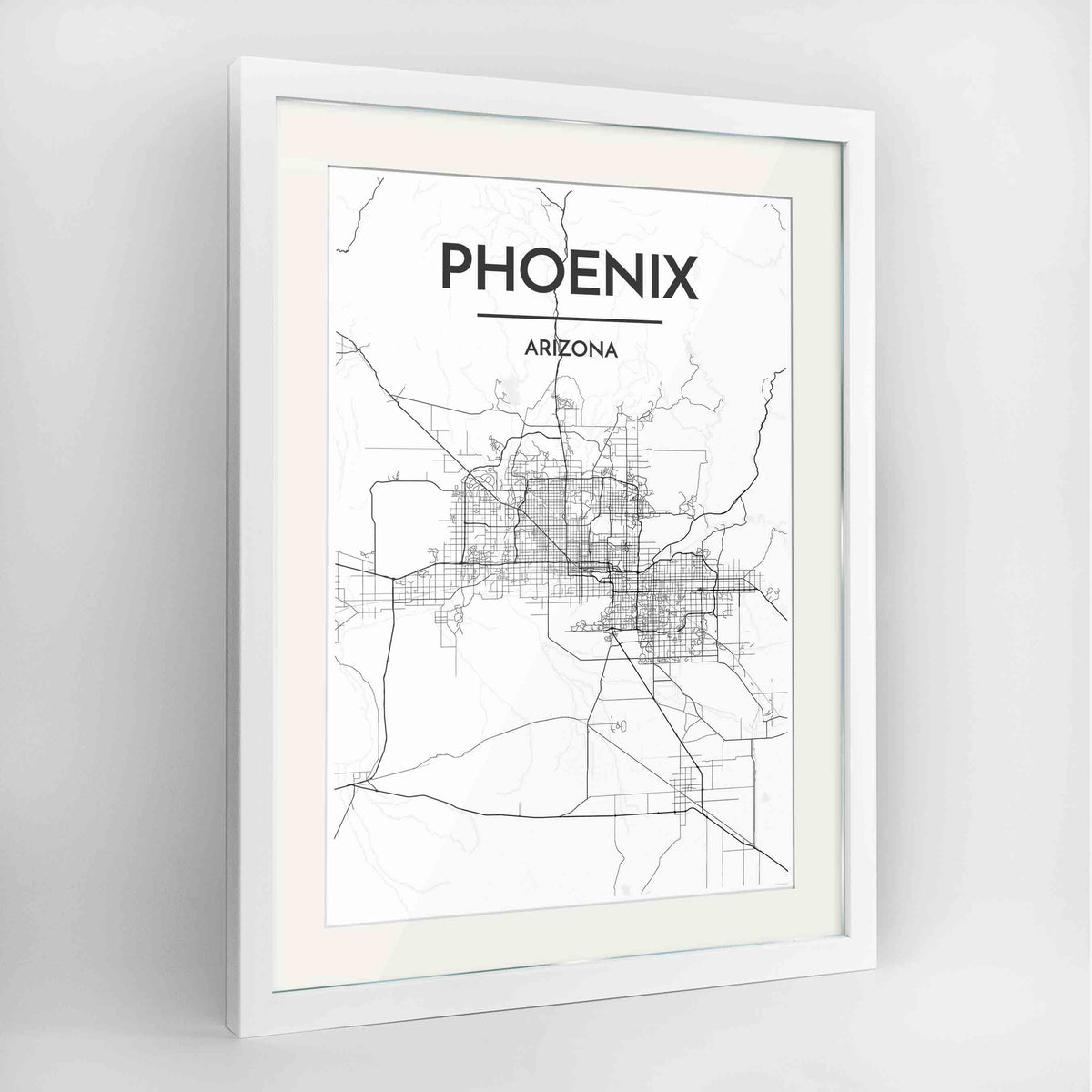 "Framed Phoenix Map Art Print 24x36"" Contemporary White frame Point Two Design Group"
