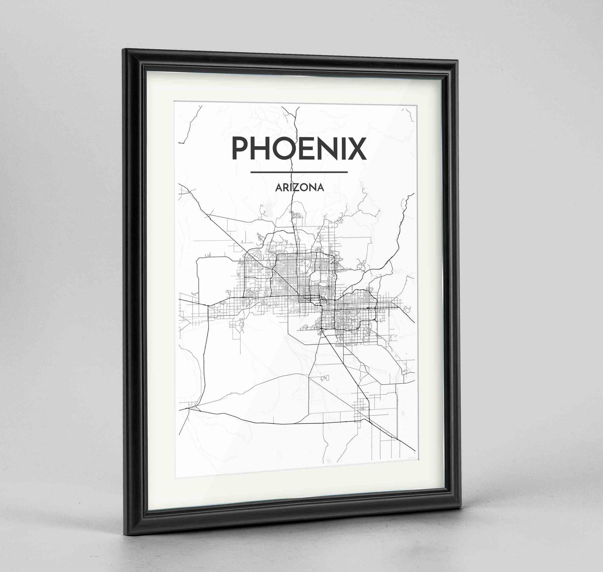 "Framed Phoenix Map Art Print 24x36"" Traditional Black frame Point Two Design Group"