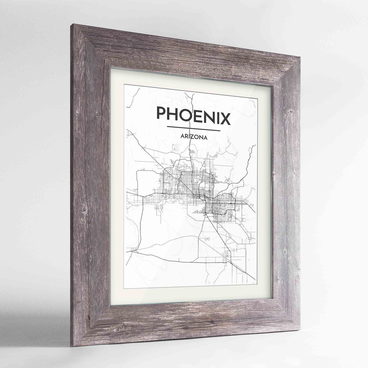 "Framed Phoenix Map Art Print 24x36"" Western Grey frame Point Two Design Group"