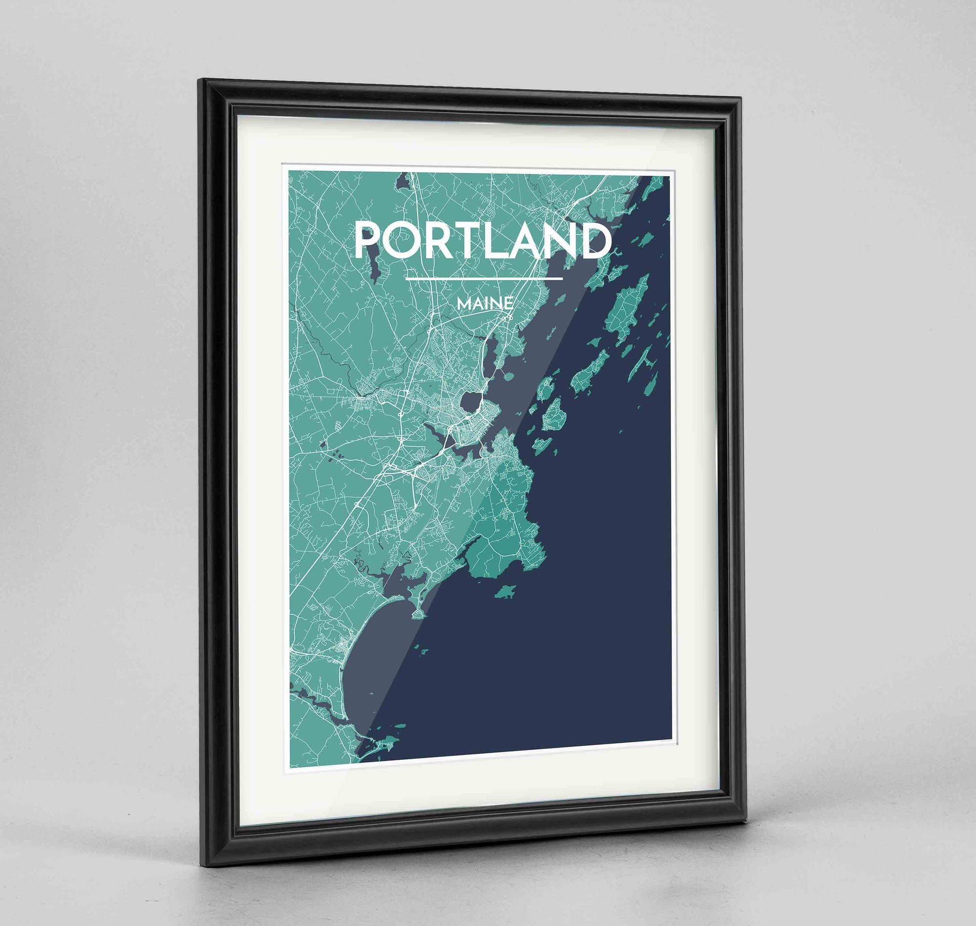 "Framed Portland - Maine Map Art Print 24x36"" Traditional Black frame Point Two Design Group"