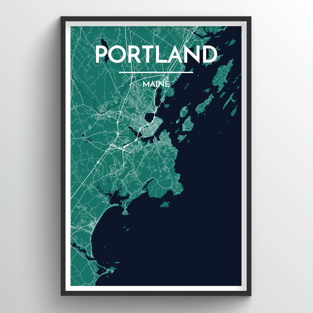 Portland - Maine Map Art Print - Point Two Design