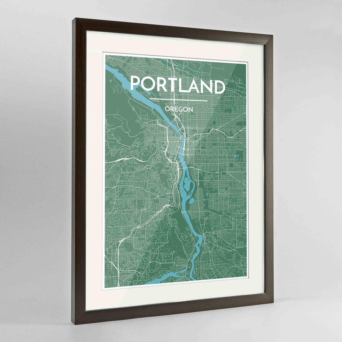 "Framed Portland - Oregon Map Art Print 24x36"" Contemporary Walnut frame Point Two Design Group"