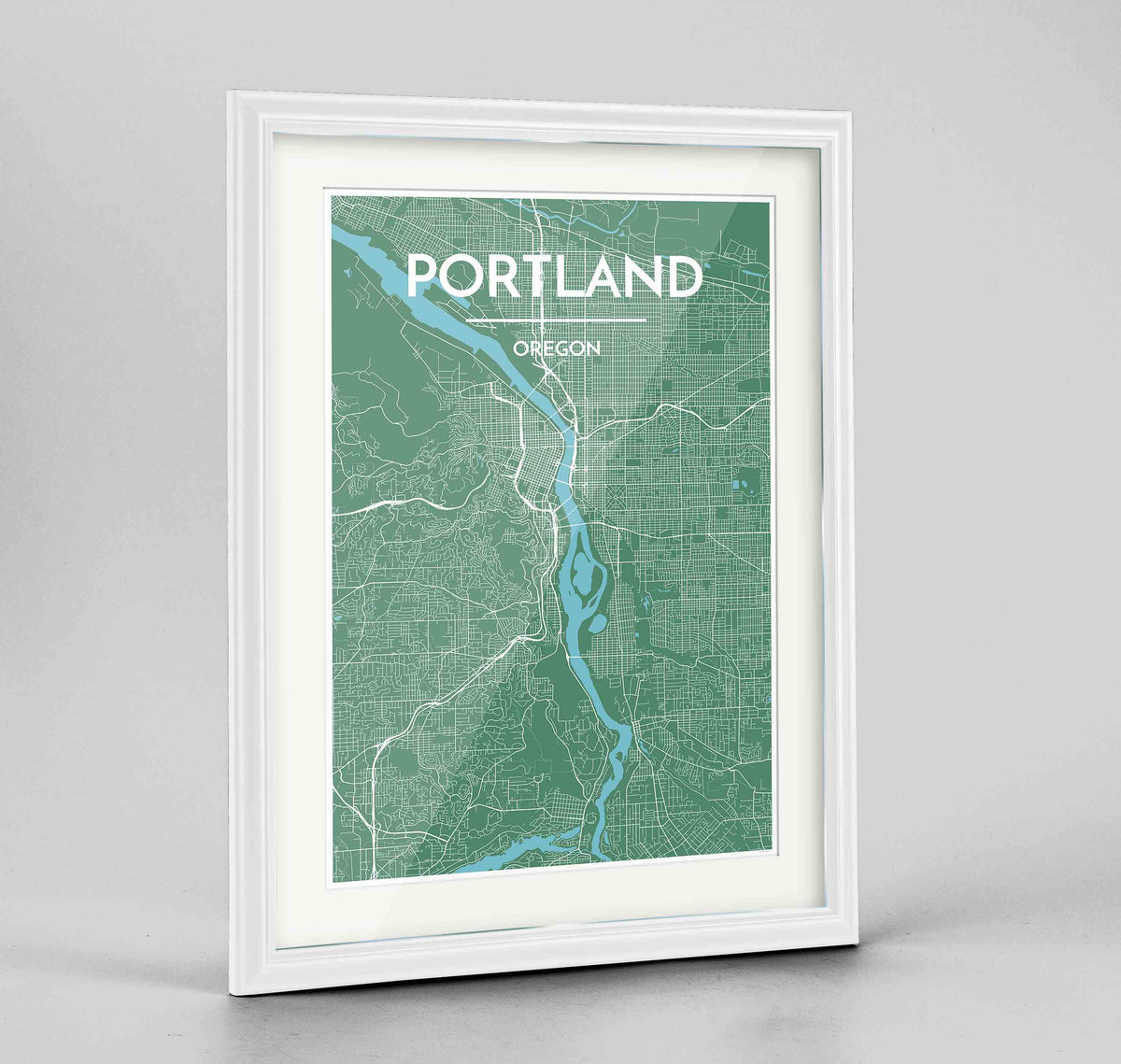 "Framed Portland - Oregon Map Art Print 24x36"" Traditional White frame Point Two Design Group"